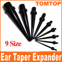 Wholesale Single Ear Plugs - Ear Expander Taper Plug Stretcher Single Black Acrylic 1.6mm 2mm 2.5mm 3.2mm 4mm 5mm 6mm 8mm 10mm H8382
