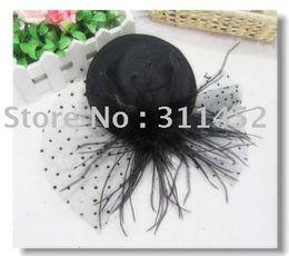 Wholesale Mini Black Hats - black feather fascinators,christmas party mini top hat,lotus leaf and feather,6pcs lot