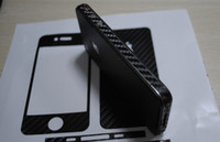 Wholesale Mobile Phone Sticker Skin - Carbon Fiber Vinyl Skin Sticker Full Body Mobile cell phone Guard for iPhone 4 4S Free DHL