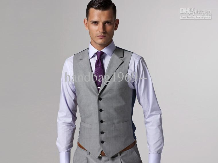 Custom Made Slim Fit Groom Tuxedos Light Grey Side Slit Best Man Suit Wedding Groomsman/Men Suits Bridegroom Jacket+Pants+Vest+Tie OK:288