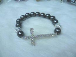 Wholesale Charms Beads Sideway - Cross Bracelets Sideway Cross Bead Bracelet Cross Charm Bracelets Free shipping 10pcs