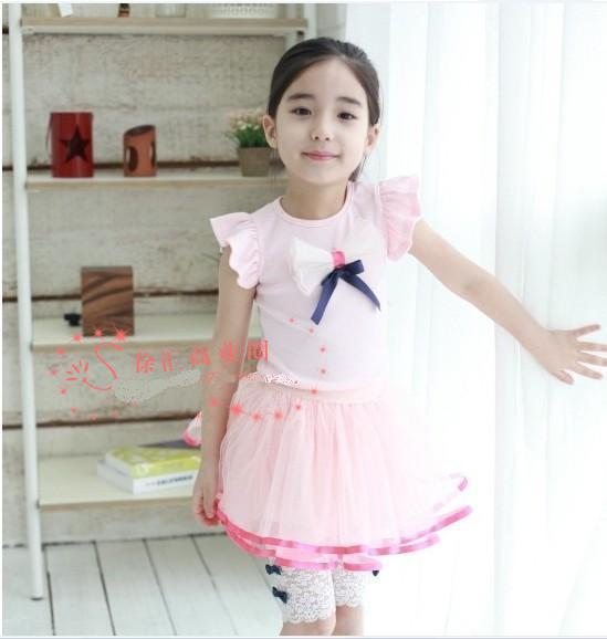 NEW Sommerkinder Mädchen bowknot Weste kurzes T-Shirt Kind Baby underwaist rosa weiß SZ49