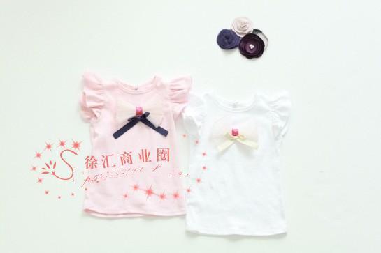 Novas crianças de verão meninas bowknot colete bebê T-shirt criança manga curta underwaist SZ49 branco rosa