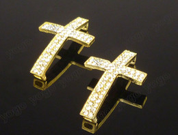 Wholesale Sideways Metal Cross Bracelet - Hot Sail Wholesale 20PC Gold Plated Metal Sideways Cross Bracelets Rhinestone Paved Connector Jewelry Findings Accessories SC712