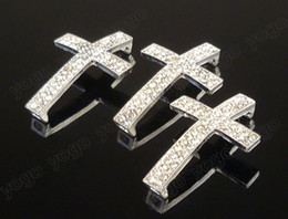 Wholesale Metal Connectors Cross - Wholesale Hot 20PC Silver Plated Metal Sideways Cross Bracelets Rhinestone Crystal Paved Spacers Connector Jewelry Findings SC712