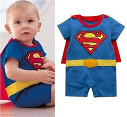 Wholesale Costume Free Shiping - Free Shiping 4 sets lot Superman Baby Romper Dress Smock Infant Cloak Bat Costume