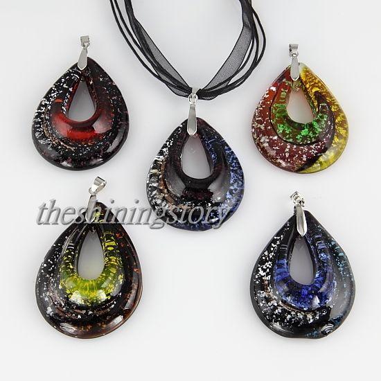 слезинка ленты Фольга из муранского стекла лэмпворк подвески для ожерелий ювелирные изделия ювелирные изделия модные подвески ожерелья MUP102