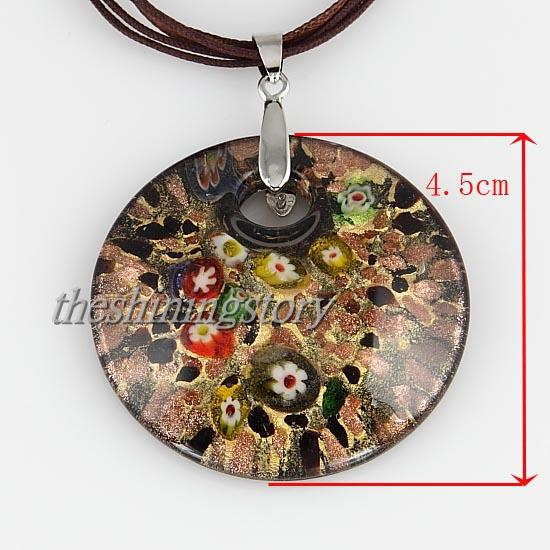 round Glitter millefiori murano lampwork glass handmade italy pendants for necklaces jewelry fashion pendnats necklaces MUP106