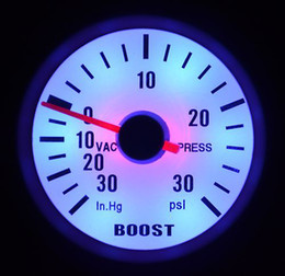 "Wholesale Psi Boost Gauge - 2"" 52MM AUTO METER WHITE FACE BLUE LED&SILVER RIM 90 DEGREE SCALE BOOST PSI GAUGE AUTO GAUGE"