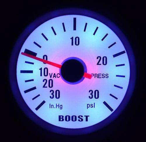 """best selling 2"""" 52MM AUTO METER WHITE FACE BLUE LED&SILVER RIM 90 DEGREE SCALE BOOST PSI GAUGE AUTO GAUGE"""