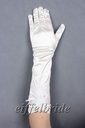Wholesale White Satin Gloves Wholesale - Cheap Evening Prom Gloves Long Finger White Ivory Stretch Satin Wedding Gloves with Hand-made Flower