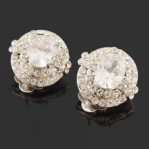 top popular sparkle crystal clip-on earrinngs with big accent cubic zirconia silver clear MINIMUM ORDER IS $15 2019