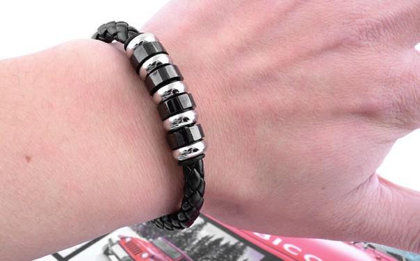 New High quality Leather braided clasp bracelets titanium stainless steel bracelet men's jewelry