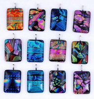 Wholesale Dichroic Glass Plate - Mix Color Vintage Colorful Gemstone Necklaces For Women Party Fashion Accessories Dichroic Glass Pendant Necklace Collier pendentif