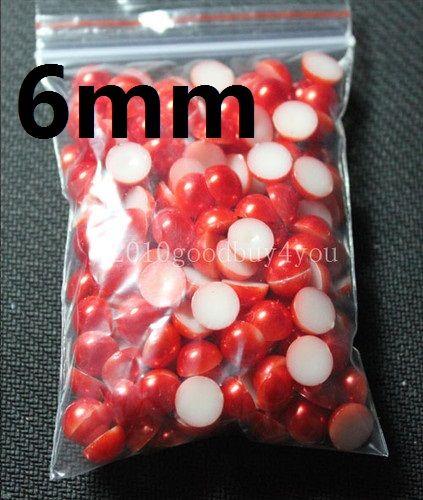 6MM couleur rouge demi perles rondes perles flatback Scrapbooking embellissement fabrication de bijoux