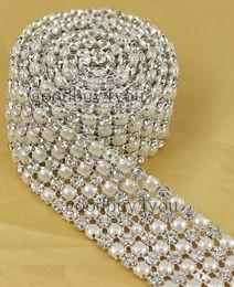 $enCountryForm.capitalKeyWord Canada - P6 1 Yard 6 Rows Diamond A Rhinestone and Pearl Wedding Cake Banding Trim Ribbon Deco