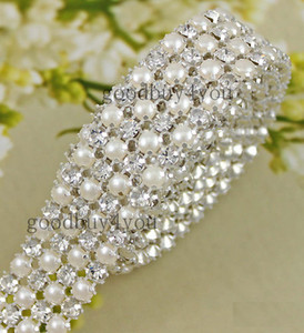 Type-4 1 Yard 4 Rows Diamond A Rhinestone and Pearl Wedding Cake Banding Trim Ribbon Deco