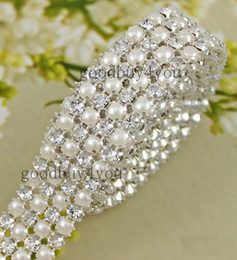 Wholesale Diamond Trim - Type-4 1 Yard 4 Rows Diamond A Rhinestone and Pearl Wedding Cake Banding Trim Ribbon Deco