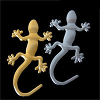 Wholesale Xmas Head Decoration - DIY Gecko Car Stickers 3D Stereo Pure Metal Car Accessories Personality Auto Decoration badges xmas gifts 30pcs
