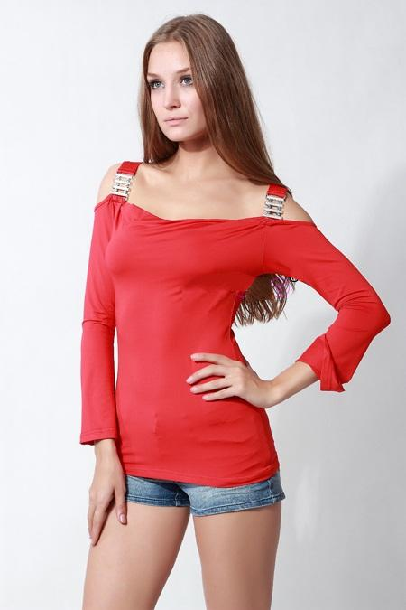 Sexy Off Shoulder Red Full Long Sleeves Tight T Shirt Shirts For ...