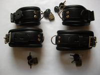 Wholesale Sm Cuffs - Free Shipping-Luxury QUALITY LEATHER BONDAGE WRIST & ANKLE CUFF RESTRAINTS LOCKABLE, sm products, leather toys, sex toys