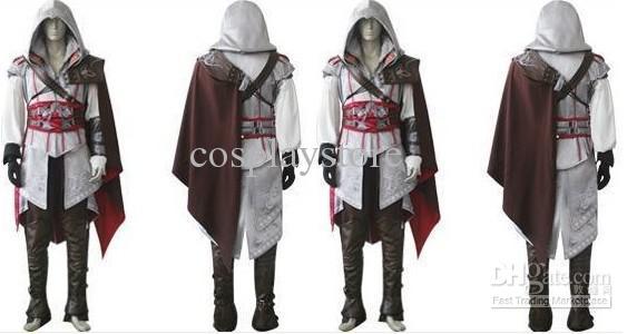 New White Version Custom Made Uniform Suit Assassin s Creed 2 II Ezio  Cosplay Costume For Halloween 24015e4e5249