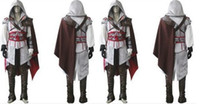Wholesale Cosplay Ezio White - New White Version Custom Made Uniform Suit Assassin's Creed 2 II Ezio Cosplay Costume For Halloween