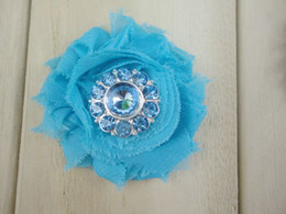 Wholesale Mesh Flowers For Headbands - Trial order Mini Chiffon Shabby Frayed Flowers with Crystal Center Mesh Back for Headband Newborn Photography 30pcs lot
