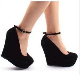 Wholesale Black Ankle Strap Wedges - suede purple wedges black wedges women's ankle strap high plarform wedges heel shoes 2 colors