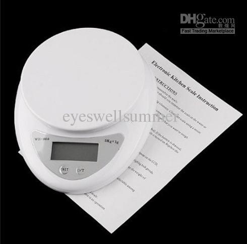 Gloednieuw 5000g / 1g 5kg Voedsel Dieet Post Keuken Digitale Schaalweegschalen Balans Gewicht Gewicht LEIDENE ELEKTRONISCHE WH05