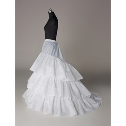 Wholesale Cathedral Petticoats - 100% Same as Picture Three Circle Hoop Three Layer A line Train Dress Slip Wedding Dress Petticoat