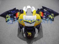 1995 cbr f3 için fairings toptan satış-CBR600F3 95-96 için Sarı Mavi kaporta kiti özelleştirmek CBR600 F3 1995 1996 CBR 600 F3 95 96 kaporta kaporta kitleri