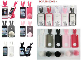 Wholesale Bunny Iphone Covers - 10pcs lot Cute Colorful Bunny Rabit Silicone Rubber Case Cover for iPhone 4 4S