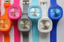 Wholesale Candies Quartz Watch Bracelet - 500pcs lot Hot Sales Square Candy Watch Bracelet Wrist Watch, Unisex Fashion Silicone Jelly Watches
