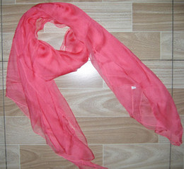 Wholesale Solid Color Polyester Scarves - Womens 100% silk Solid scarf Shawl,Wraps Scarves Neckscarf 180*110cm 16pc lot mixed color #2053