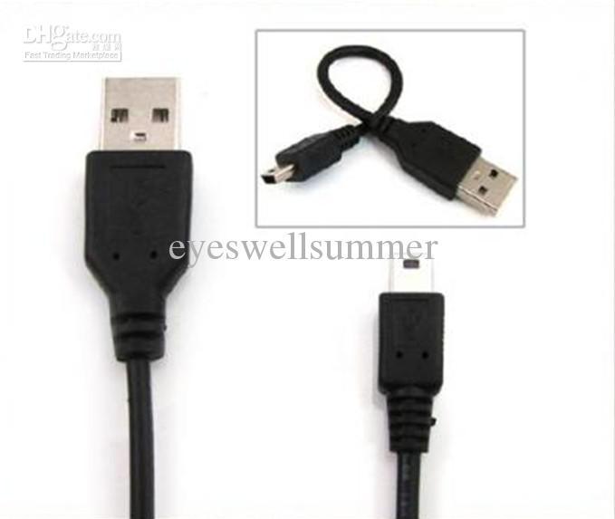 Câble USB 5 broches pour MP3 MP4, câble mini USB 50pc / lot Livraison gratuite