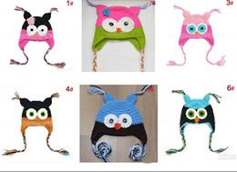 Chapéu do earflap da coruja on-line-Melhor jogo 6 pcs Criança Da Coruja EarFlap Crochet Hat Bebê Handmade Crochet OWL Beanie chapéu de Malha