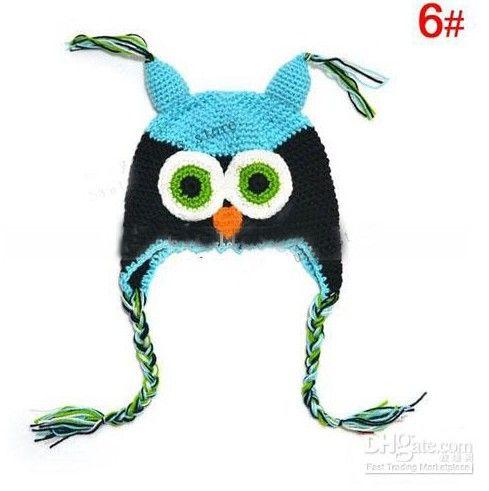 Heißer Verkauf Kleinkind Owl EarFlap Häkeln Hut Baby Handmade häkeln OWL Beanie Strickmütze 10er