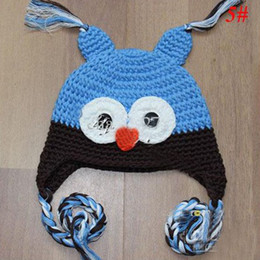 Wholesale Owl Earflap Hat - Free Shipping Toddler Owl EarFlap Crochet Hat Baby Handmade Crochet OWL Beanie Knitted hat 10pcs