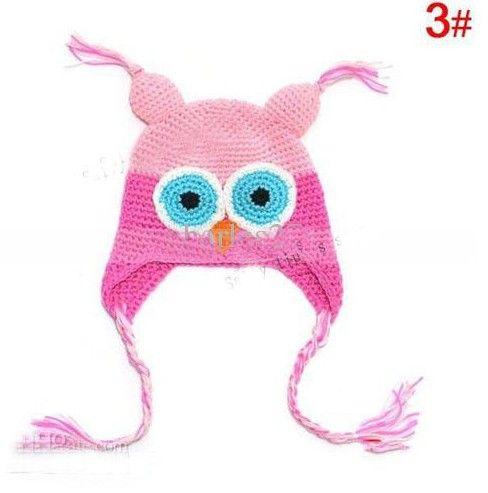 Best-seller Criança Da Coruja EarFlap Crochet Hat Bebê Feito À Mão Chapéu De Crochê Misturado fio