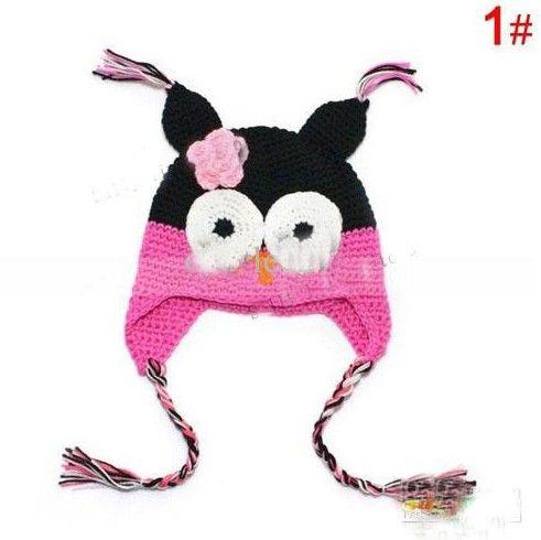 El precio más bajo 20 unids Toddler Owl EarFlap Crochet Hat Baby Handmade Crochet Hat Blended hilado