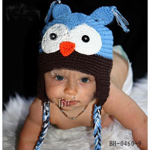 Best-seller 10 pcs Criança Da Coruja EarFlap Crochet Hat Bebê Feito À Mão Chapéu De Crochê Misturado fio