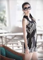 Wholesale Dresses Bands - 2017 Hot Sale !! Women's Floral Classic Vintage Collar Exotic Mini Dress Black White with Band Neck 0955