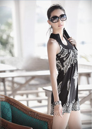 Wholesale Exotic Summer Dress - 2017 Hot Sale !! Women's Floral Classic Vintage Collar Exotic Mini Dress Black White with Band Neck 0955