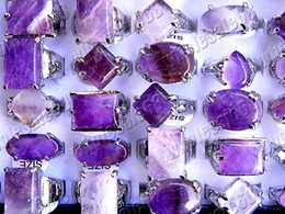 Wholesale Amethyst Gemstone Jewelry - Rings Jewelry Charm crystal of Amethyst gemstone stone Silver Tone Ring 25pcs include box