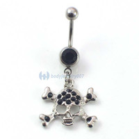 Wholesale Cheap Rhodium Plated Rings - 0156-2 Cheap button rings skull style black color JF14-100 10Pcs Lot fashion body jewelry navel rings