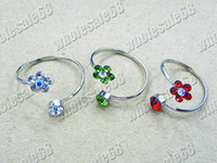 Wholesale Silver Tone Jewelry Box - Rings Jewelry Charm Flower CZ Rhinestone Silver Tone Ring 50pcs include box 16-19mm