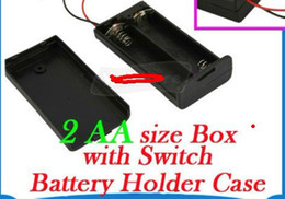 Wholesale 3v Battery Holder - 20pcs lot New 2 AA 2A Battery 3V Holder Box Case with Switch Black good quality long life