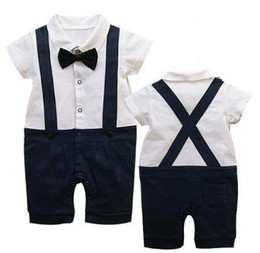 Wholesale Romper Dandys - Children Clothes, boys cute Lovely gentleman short-sleeved Romper, 4pcs lot, dandys