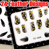 Wholesale Designs Nail Art Wraps Sticker - 24 Style Feather Nail Decal Sticker 3D Nail Art Wrap Tip Tips Acrylic Gel Polish Decoration DIY NEW FASHION DESIGN HOT SALE * 120pcs lot